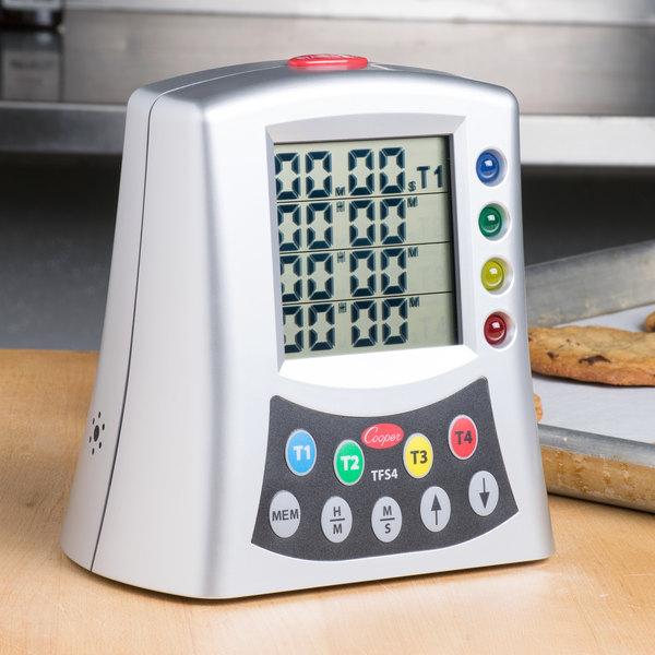 cooper atkins tfs4 0 8 digital 4 channel kitchen timer with memory. Black Bedroom Furniture Sets. Home Design Ideas