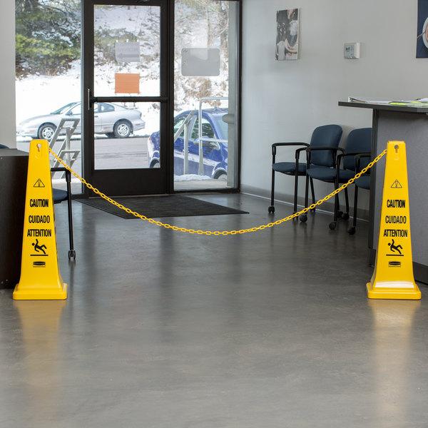 Rubbermaid FG618400YEL 20' Yellow Wet Floor Barrier Chain Main Image 11