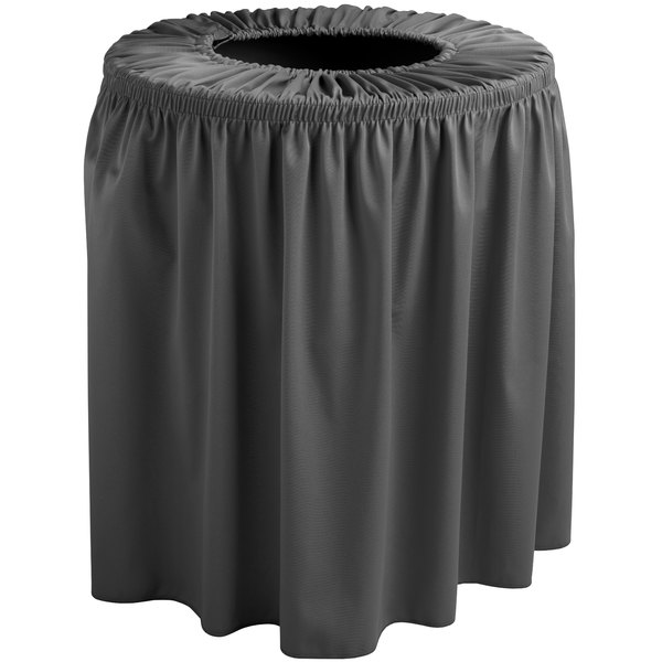 Snap Drape TCCWYN35CHAR Wyndham 35 Gallon Charcoal Shirred Pleat Trash Can Cover
