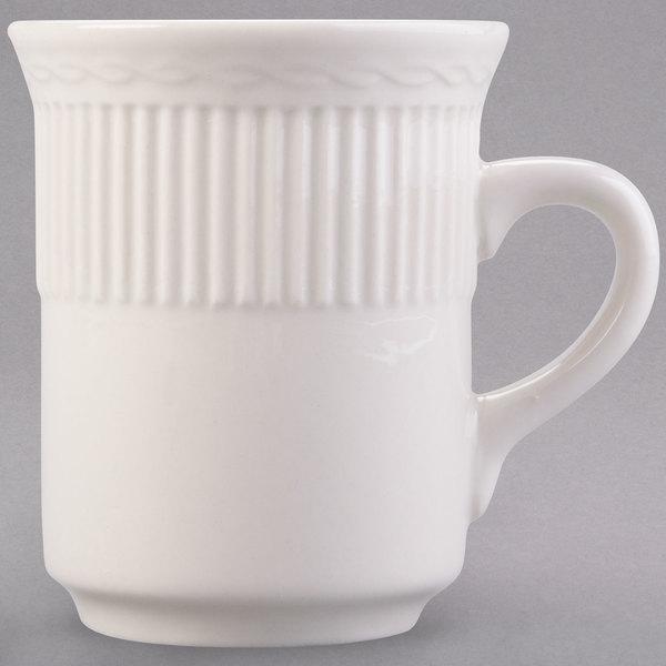 8 oz. Ivory (American White) Embossed Rim China Mug - 36/Case