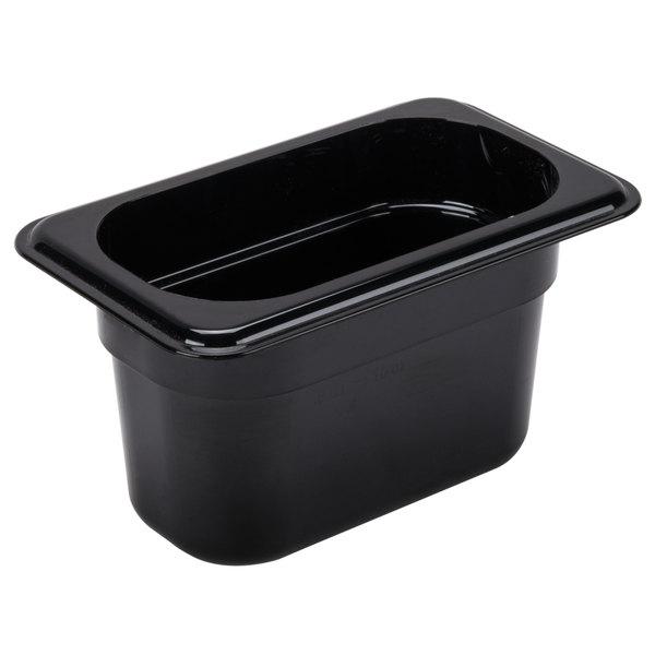 "Cambro 94CW110 Camwear 1/9 Size Black Polycarbonate Food Pan - 4"" Deep Main Image 1"