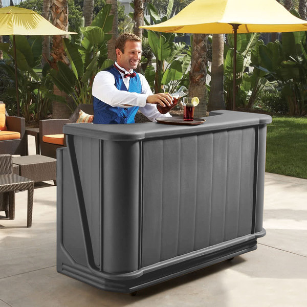 """Cambro BAR650PMT191 Granite Gray Cambar 67"""" Portable Bar with 7-Bottle Speed Rail and Complete Post Mix System with Water Tank"""