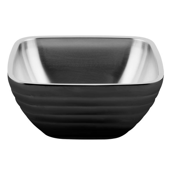 Vollrath 4763460 Double Wall Square Beehive 3.2 Qt. Serving Bowl - Black Black Main Image 1
