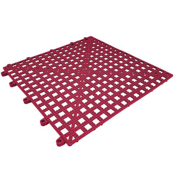 "Cactus Mat Dri-Dek 2554-TT Burgundy 12"" x 12"" Vinyl Interlocking Drainage Floor Tile- 9/16"" Thick"