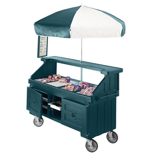 Cambro CVC724192 Camcruiser Granite Green Customizable Vending Cart with Umbrella and 4 Counter Wells