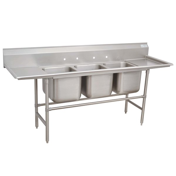 """Advance Tabco 94-43-72-36RL Spec Line Three Compartment Pot Sink with Two Drainboards - 151"""""""