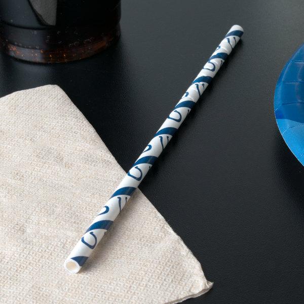 "Creative Converting 316453 Indianapolis Colts 8"" Jumbo Paper Straw - 144/Case Main Image 4"
