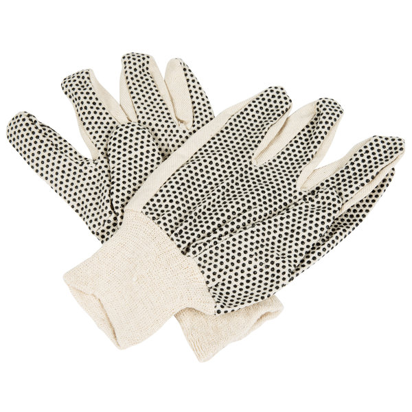 Cotton Canvas Work Gloves With Black Pvc Dotted Palm
