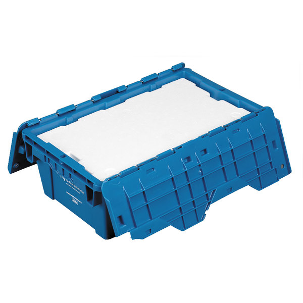 "Polar Tech 19 5/8"" x 11 3/4"" x 7 1/4"" Blue Reusable Heavy Duty Plastic Tote"