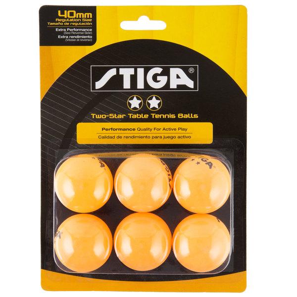 Stiga T1421 2-Star Orange Ping Pong Balls - 6/Pack