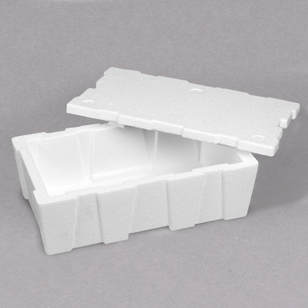 "Polar Tech 20"" x 14"" x 9"" White Insulated Foam Tote Liner / Cooler with 7/8"" Thick Walls"