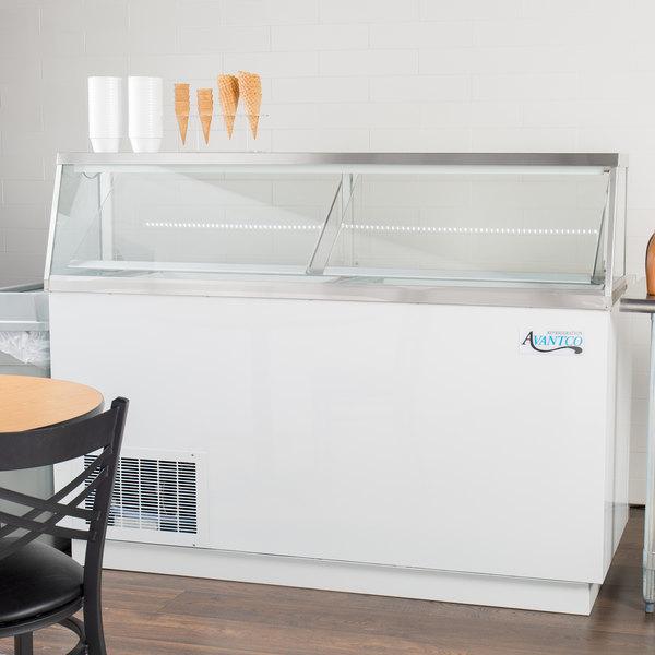 "Avantco CPW-68-HC 67 3/4"" 12 Tub White Deluxe Ice Cream Dipping Cabinet Main Image 4"