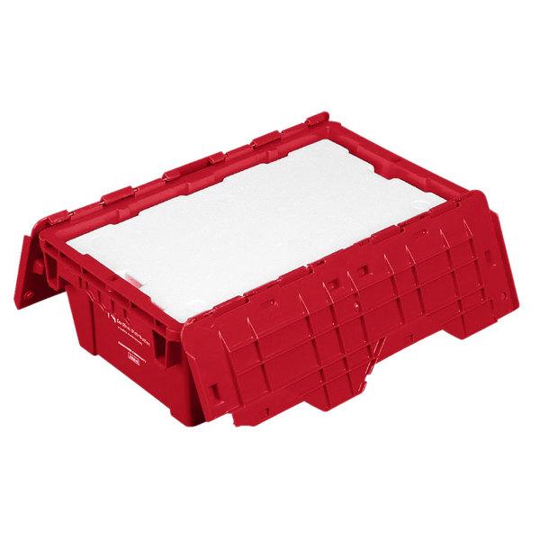 "Polar Tech 19 5/8"" x 11 3/4"" x 7 1/4"" Red Reusable Heavy Duty Plastic Tote"