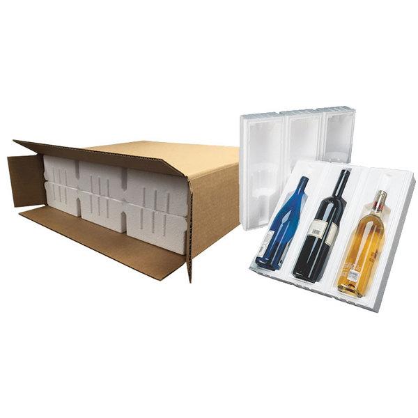 """Polar Tech Safeway 3 Bottle Wine / Champagne Shipper Box - 17 1/4"""" x 5 3/8"""" x 15 15/16"""""""