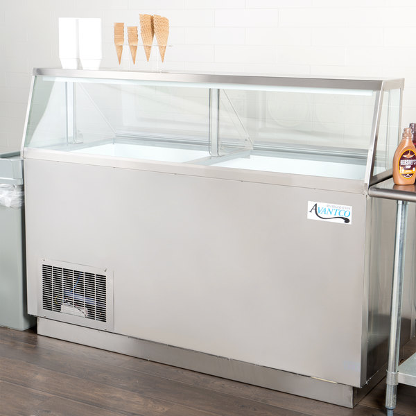 """Avantco CPSS-68-HC 67 3/4"""" 12 Tub Stainless Steel Deluxe Ice Cream Dipping Cabinet Main Image 4"""