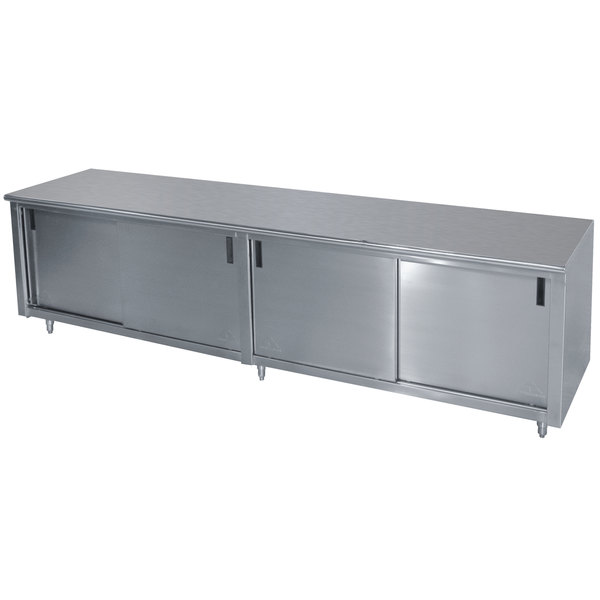 """Advance Tabco CB-SS-308M 30"""" x 96"""" 14 Gauge Work Table with Cabinet Base and Mid Shelf"""