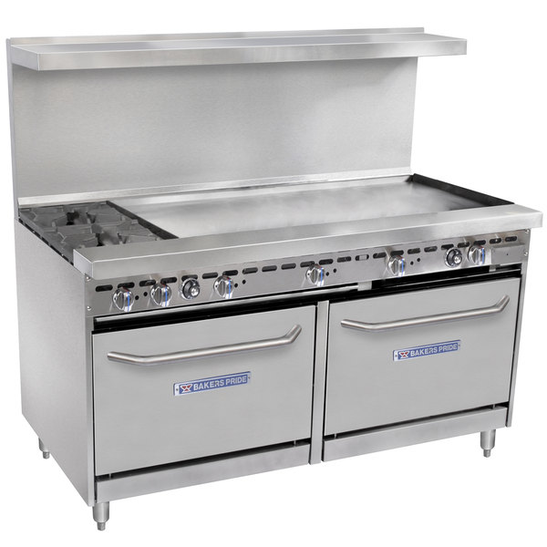 """Bakers Pride Restaurant Series 60-BP-2B-G48-S26 Liquid Propane 2 Burner Range with Two Standard 26"""" Ovens and 48"""" Griddle"""