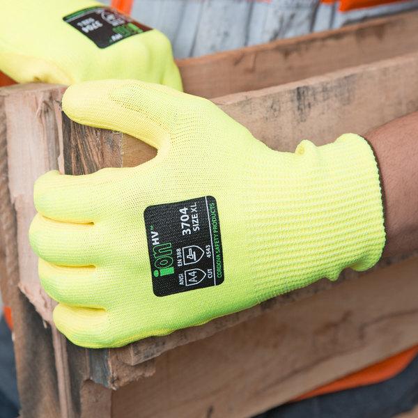 ION HV Hi Vis Yellow HPPE / Glass Fiber Synthetic Fiber Cut Resistant  Gloves With Hi Vis ...