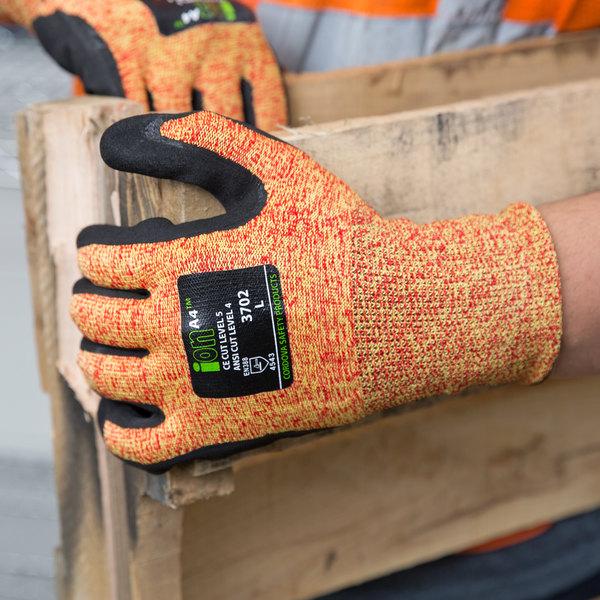 ION A4 Mandarin Orange HPPE / Glass Fiber / Synthetic Fiber Cut Resistant  Gloves With Black Sandy Nitrile ...