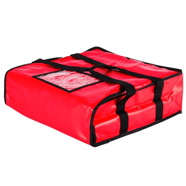 Choice Insulated Pizza Delivery Bag Red Vinyl 18 X 5 Holds Up To 2 16 Or 1 Bo