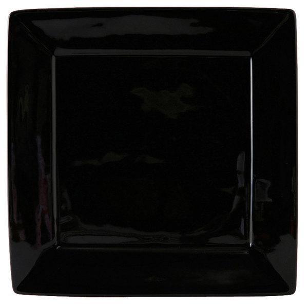 """Tuxton BBH-1016 DuraTux 10 1/8"""" x 10 1/8"""" Black Square China Plate - 12/Case"""
