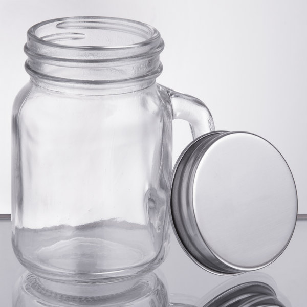 Acopa 475 Oz Mini Mason Jar With Handle And Solid Lid 12case