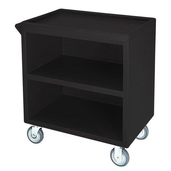 "Cambro BC3304S110 Black Three Shelf Service Cart with Three Enclosed Sides - 33 1/8"" x 20"" x 34 5/8"""