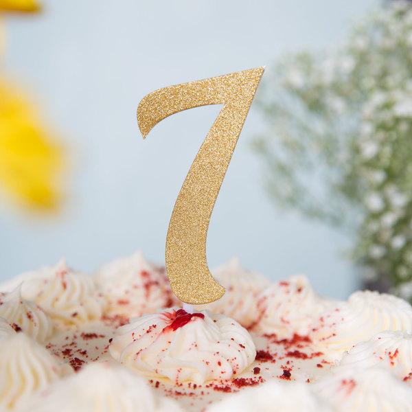 """Creative Converting 324549 Gold Glitter """"7"""" Cake Topper"""