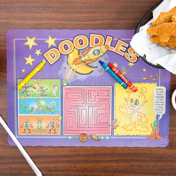 Choice Doodles Children's Interactive Placemat with 3 Pack Kids Restaurant Crayons - 1000/Set