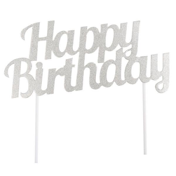 Creative Converting 324541 Silver Glitter Happy Birthday Cake Topper