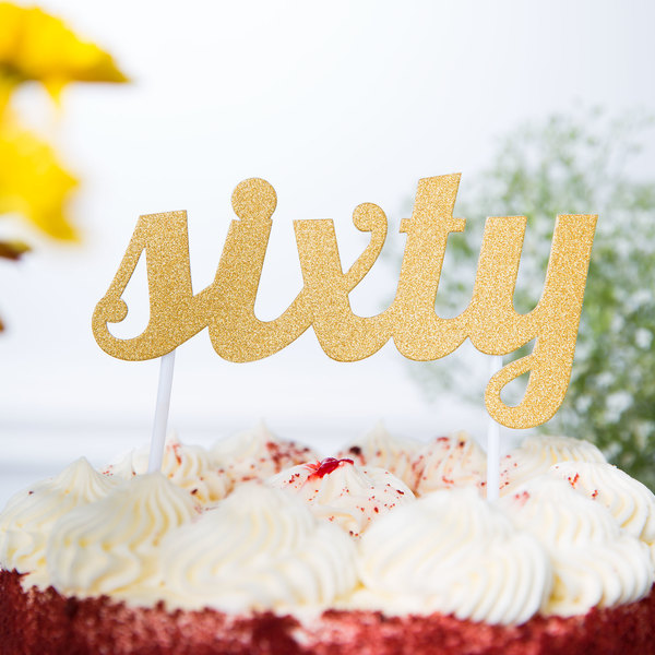 "Creative Converting 324539 Gold Glitter ""Sixty"" Cake Topper"