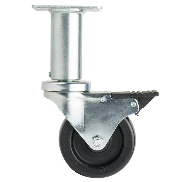 "4"" Adjustable Swivel Plate Caster with Brake Main Image 1"