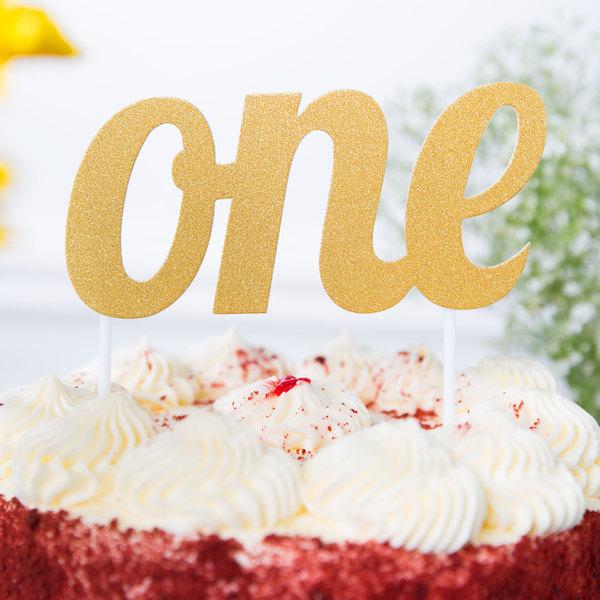 "Creative Converting 324533 Gold Glitter ""One"" Cake Topper"