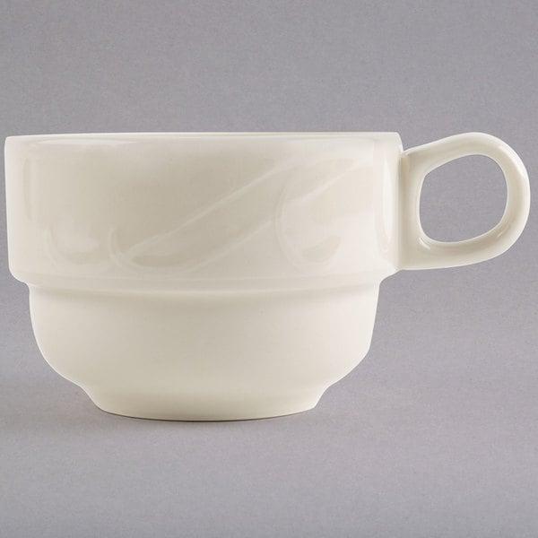 Homer Laughlin by Steelite International HL6181000 7.75 oz. Ivory (American White) China Tea Cup - 36/Case Main Image 1