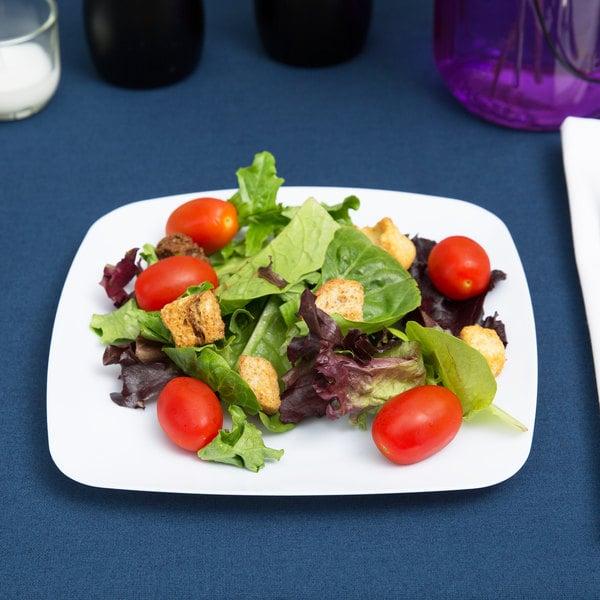 """Fineline Renaissance 1508-WH 7 1/2"""" White Customizable Plastic Salad Plate - 120/Case"""