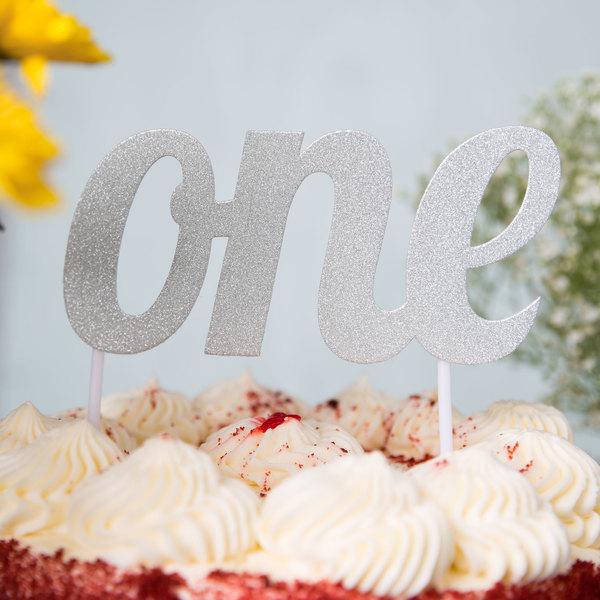 "Creative Converting 324534 Silver Glitter ""One"" Cake Topper"