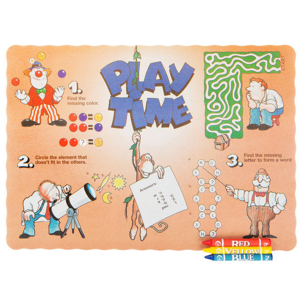 Choice Play Time Interactive Placemat with 3 Pack Kids Restaurant ...