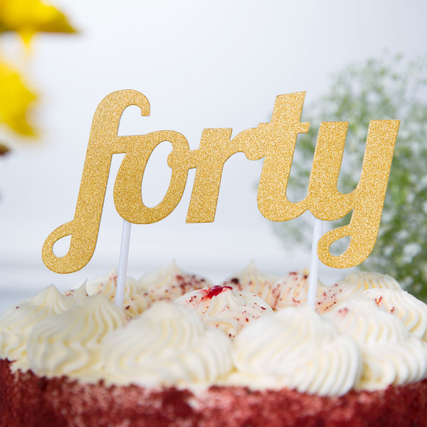 """Creative Converting 324537 Gold Glitter """"Forty"""" Cake Topper"""