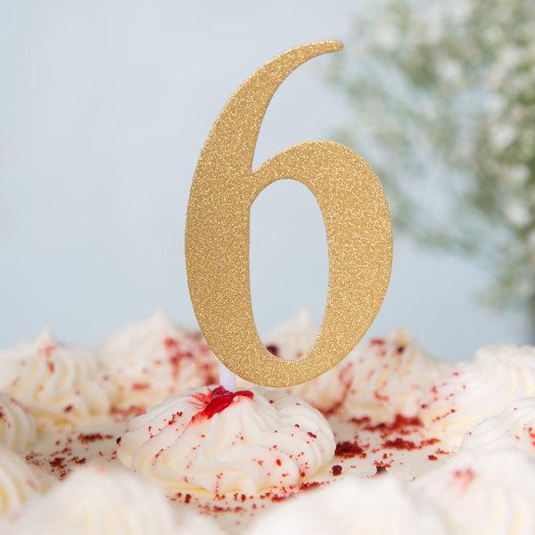 """Creative Converting 324548 Gold Glitter """"6"""" Cake Topper"""