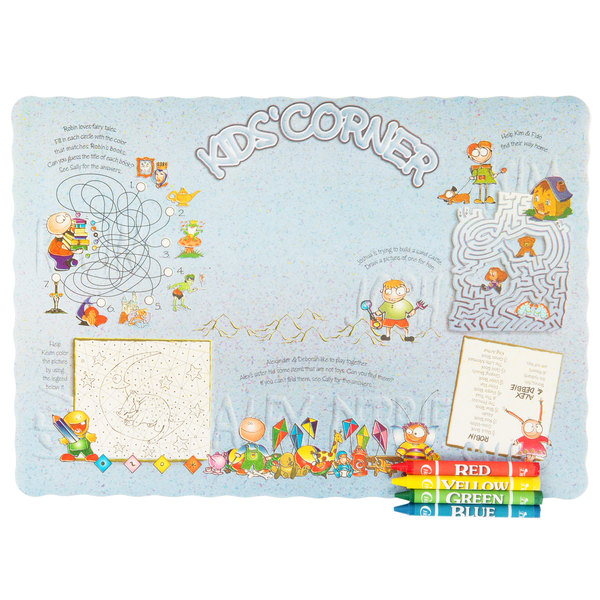 choice kids corner interactive placemat with 4 pack kids restaurant