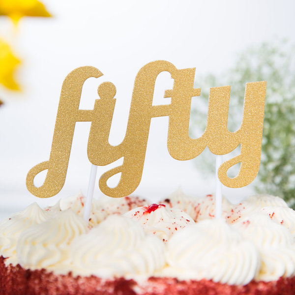 "Creative Converting 324538 Gold Glitter ""Fifty"" Cake Topper"