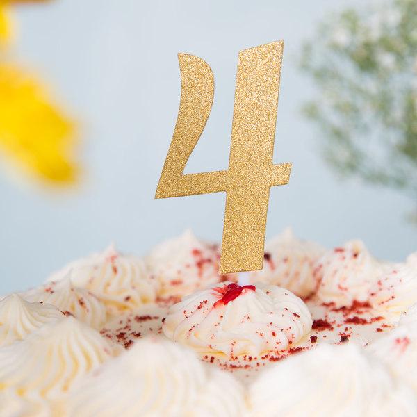 """Creative Converting 324546 Gold Glitter """"4"""" Cake Topper"""
