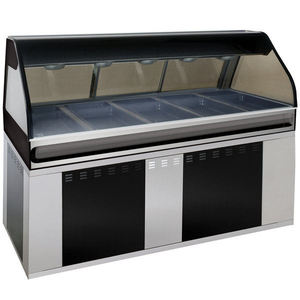 "Alto-Shaam EU2SYS-72/PL BK Black Cook / Hold / Display Case with Curved Glass and Base - Left Self Service, 72"" Main Image 1"