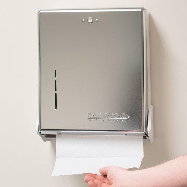 San Jamar T1905XC True Fold Chrome C-Fold / Multi-Fold Towel Dispenser Main Image 10