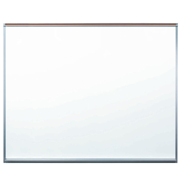 "Aarco 120A-45M Professional Series 48"" x 60"" All Purpose White Porcelain Enamel on Steel Markerboard with Aluminum Frame and Full Length Map Rail"
