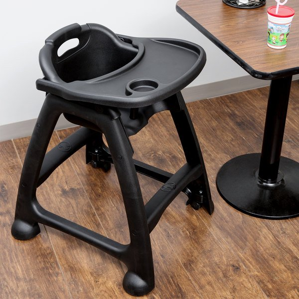Lancaster Table & Seating Assembled Black Stackable Plastic Restaurant High Chair with Tray and Wheels Main Image 4