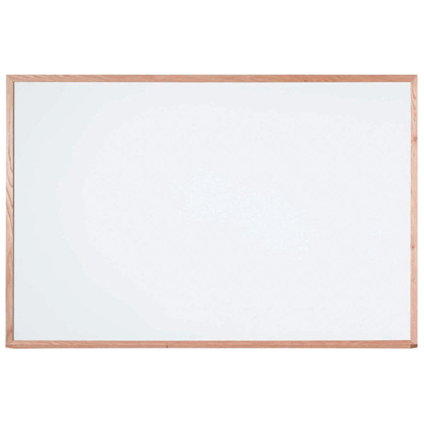 """Aarco WOS4872 Institutional Series 48"""" x 72"""" Multi-Purpose White Porcelain Enamel on Steel Markerboard with Solid Red Oak Wood Frame"""