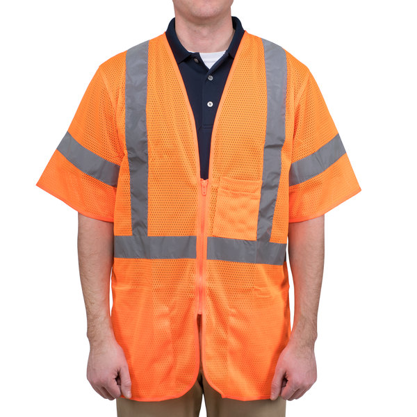 Orange Class 3 High Visibility Safety Vest - Large