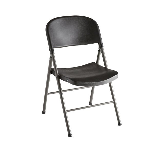 Lancaster Table & Seating Black Contoured Blow Molded Folding Chair with Charcoal Frame Main Image 1