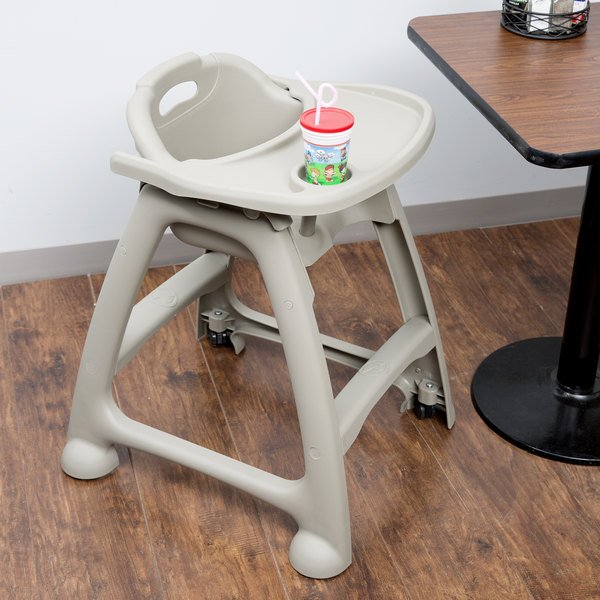 Lancaster Table & Seating Assembled Gray Stackable Plastic Restaurant High Chair with Tray and Wheels Main Image 4